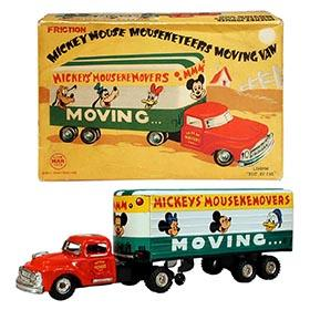 c.1957 Linemar, Mickey's Mousekemovers Moving Van in Original Box