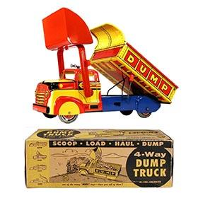 c.1950 Marx, 4-Way Lumar Construction Co. Dump Truck in Original Box