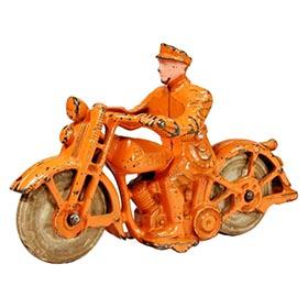 c.1934 Hubley, Orange Cast Iron Patrol Motorcycle Cop