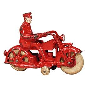 1934 A.C. Williams, Cast Iron Motorcycle Cop (Red)