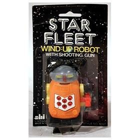 1978, Star Fleet Wind-Up Robot w/Shooting Gun on Original Card