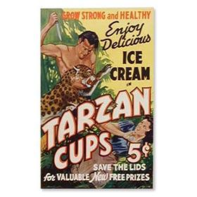 1934 Uncut Sheet of Tarzan Ice Cream Cup, Store Posters