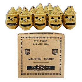 1927 Kilgore, Complete Unused Group of 12 Cast Iron Bozo Cap Bombs in Original Box