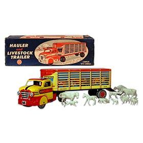 1956 Marx Hauler & Livestock Trailer Truck with Animals in Original Box