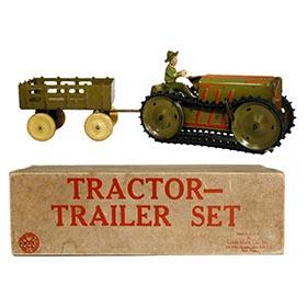 1939 Marx, Army Military Tractor Trailer Set in Original Box