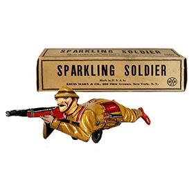 1937 Marx, Mechanical Sparkling Soldier in Original Box