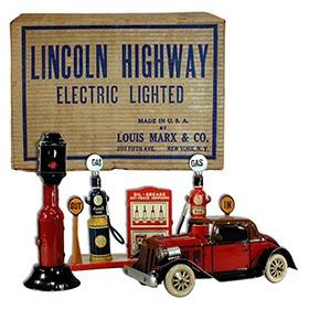 1933 Marx, Electric Lighted Lincoln Highway Set in Original Box