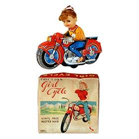 c.1960 Mansei Toy Co., Friction Girl Cycle in Original Box