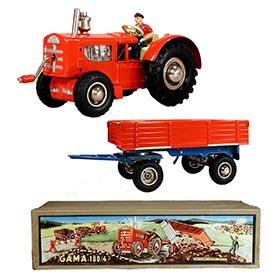 c.1947 GAMA 180/4 Clockwork Tractor w/Side-Dump Trailer in Original Box