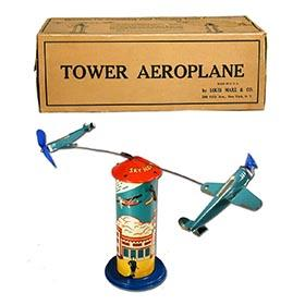c.1935 Marx, Sky Hawk Tower Aeroplane in Original Box
