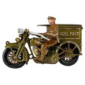 1928 Hubley, No. 11 Harley-Davidson Parcel Post Motorcycle