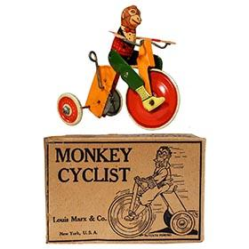 1933 Marx, Mechanical Monkey Cyclist in Original Box