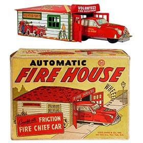 c.1949 Marx, Automatic Fire House in Original Box (#2)