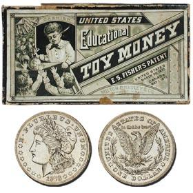 1889 Milton Bradley, U.S. Educational Toy Money in Original Box