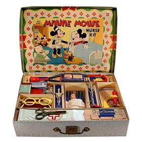 c.1940 Hassenfeld Bros., Minnie Mouse 20pc. Nurse Kit in Original Box