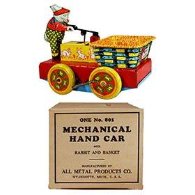 1949 Wyandotte, Mechanical Rabbit & Basket Hand Car in Original Box