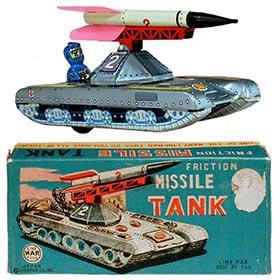 c.1958 Linemar, Friction Missile Tank (with Circuitry Robot) in Original Box