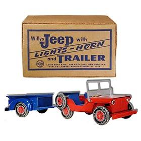1952 Marx, Willys Electric Jeep with Trailer in Original Box