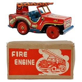 c.1948 Nomura, Fire Engine Jeep in Original Box