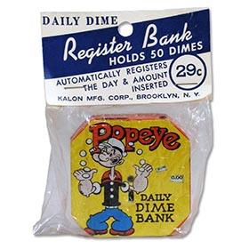1956 Kalon Mfg., Popeye Dime Register Bank, Sealed in (Blue) Original Bag