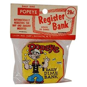 1956 Kalon Mfg., Popeye Daily Dime Register Bank, Sealed in (Red) Original Bag