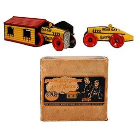 c.1924 Girard, Gasoline Alley Garage and Two Bear Cat Racers in Original Box