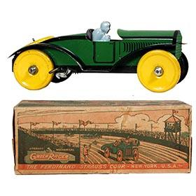 c.1924 Strauss, Mechanical Green Racer in Original Box