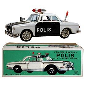 c.1963 Ichiko, Volkswagen Karmann Ghia Coupe Police Car in Original Box