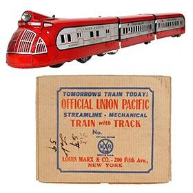 1936 Marx, M10000 Red Zephyr Articulated Streamlined Locomotive Set in Original Box