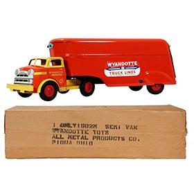 1952 Wyandotte, No.1502M Semi-Trailer Van Truck in Original Box