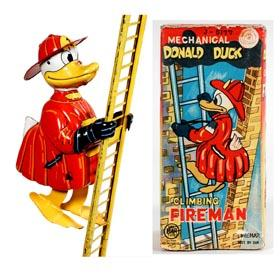 c.1958 Linemar, Mechanical Donald Duck Climbing Fireman in Original Box