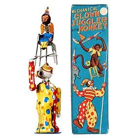 c.1959 T.P.S., Mechanical Clown Juggler with Monkey in Original Box