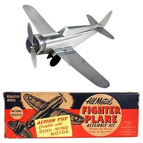 c.1946 Streamline Toy Co., Mechanical Aluminum Fighter Plane in Original Box