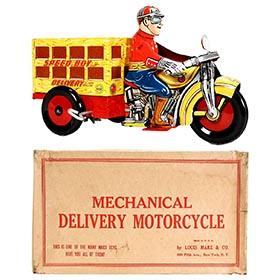 1938 Marx, Speed Boy Delivery Motorcycle in Original Box