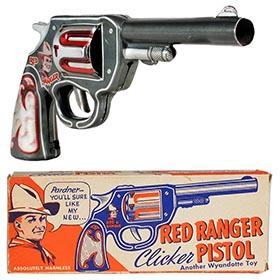 1940 Wyandotte, No.24 Red Ranger Clicker Pistol in Original Box