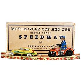 c.1938 Marx, Motorcycle Cop and Car Speedway in Original Box