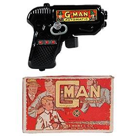 1936 Marx, Black G-Man Automatic Sparkling Pistol in Original Box