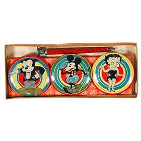 1931 Japan, Mickey Mouse, Betty Boop, & Bimbo; Flower Tops in Original Box