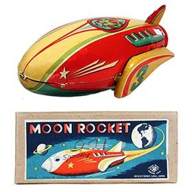 c.1953 Masudaya, No.3 Sparkling Moon Rocket in Original Box