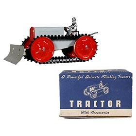 1935 Woodhaven Metal Stamping Co., Animate Climbing Tractor with Scraper in Original Box