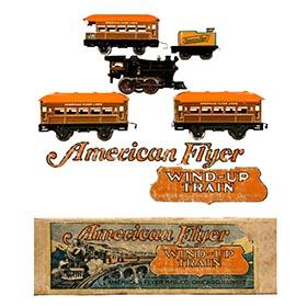 c.1927 American Flyer, 5pc. Clockwork Train Set in Original Box