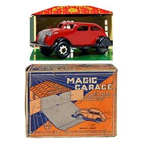 1934 Marx, Magic Garage with Clockwork Chrysler Airflow in Original Box