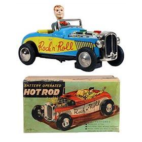 c.1955 Nomura, Rock n' Roll Hot Rod in Original Box