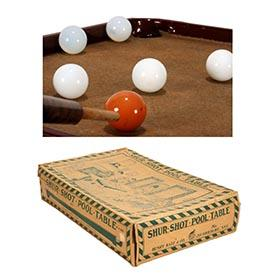 1922 Henry Katz & Co., Shur Shot Pool Table in Original Box