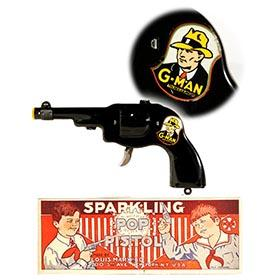 1935 Marx, G-Man Sparkling Pop Pistol in Original Box