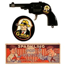 1935 Marx, G-Man Sparkling Pop Pistol in Original Box (#2)