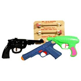 Marx Steel Dart Pistol, Wyandotte Darts on Card and Ray Gun