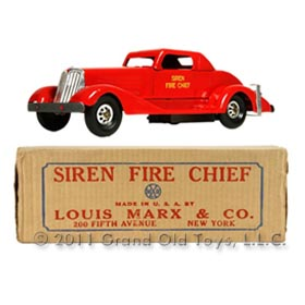 1935 Marx Siren Fire Chief Car In Original Box