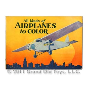 1930 Saalfield, 24pg All Kinds Of Airplanes To Color