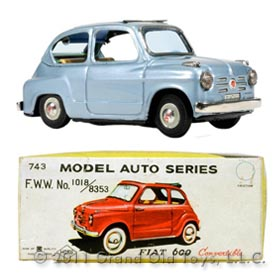 1956 Bandai Fiat 600 Convertible In Original Box